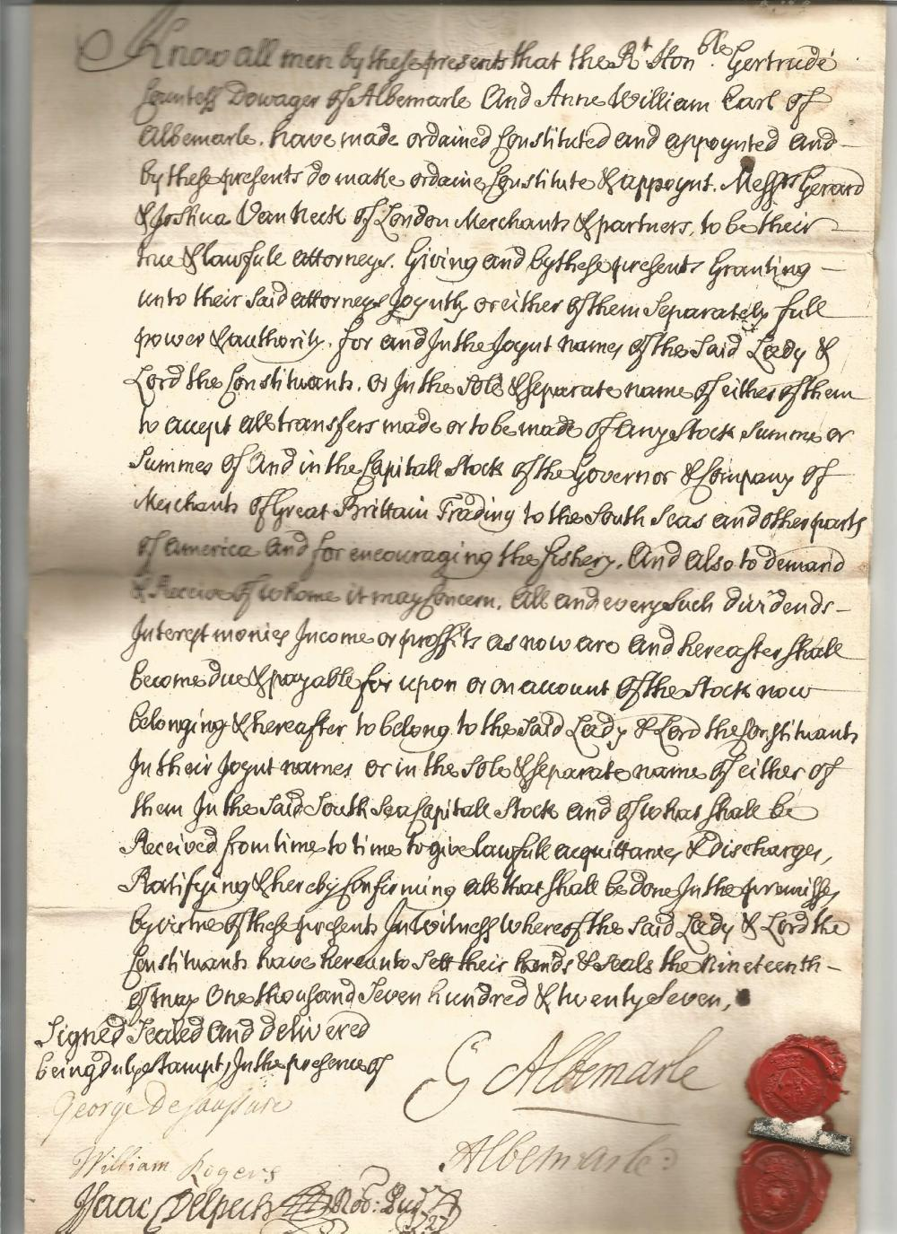 2nd Earl of Albermarle - Willem von Keppel (1702-1754) document signed by him and his mother Dawoger
