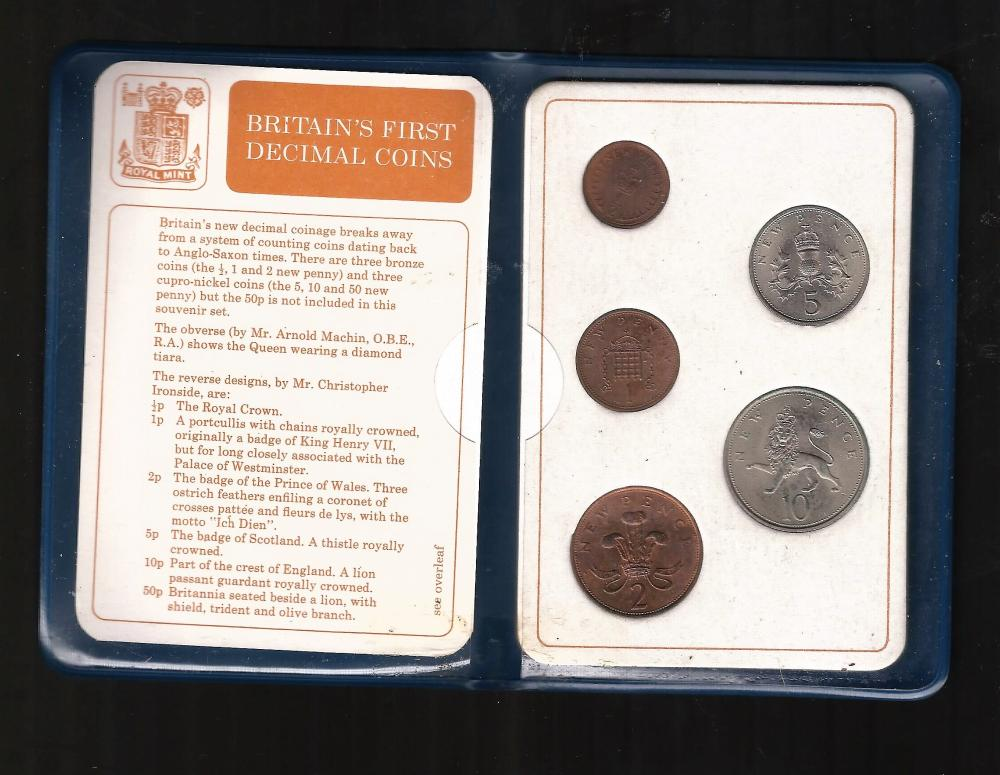 Britain's first decimal coin set. Includes 1/2p, 1p, 2p, 5p and 1p cons. Good Condition. All