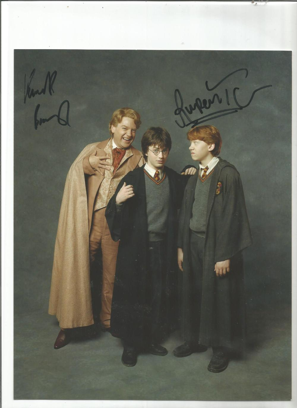 Kenneth Branagh and Rupert Grint signed 10x8 colour photo from Harry Potter. Good Condition. All