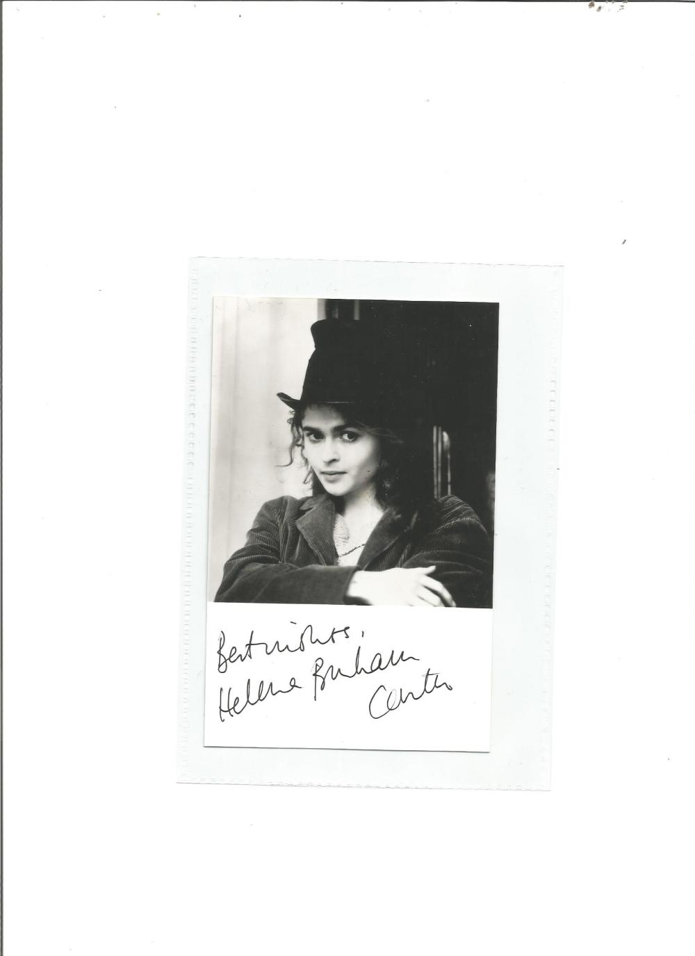 Helena Bonham Carter signed 6x3 b/w photo as Bellatrix Lestrange in Harry Potter. Good Condition.