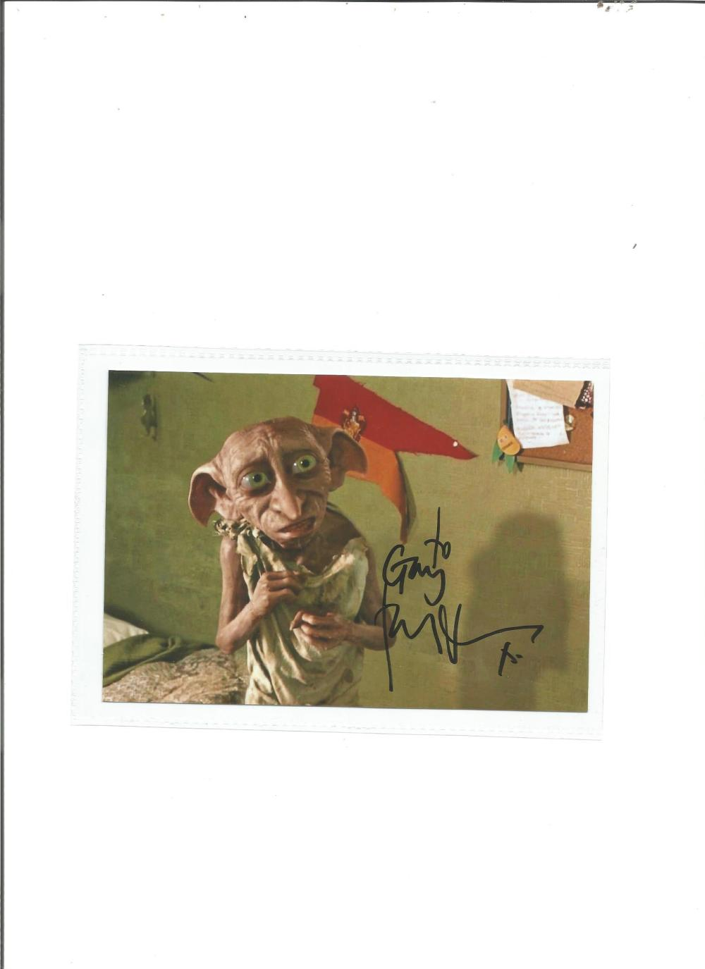 Toby Jones signed 6x4 colour photo as Dobby in Harry Potter. Good Condition. All signed pieces