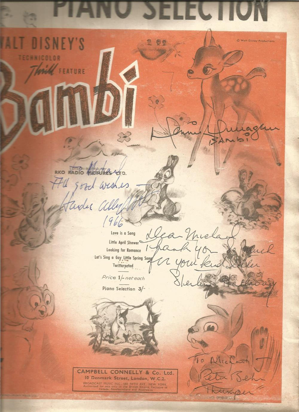Multi signed Bambi music score. Signed by Donnie Dunagan, Hardie Albright, Sterling Holloway and