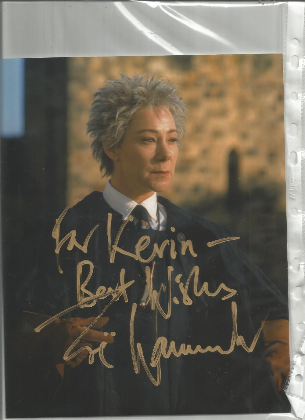 Zoe Wanamaker signed 10x8 colour photo as Madam Hooch in Harry Potter. Dedicated. Good Condition.