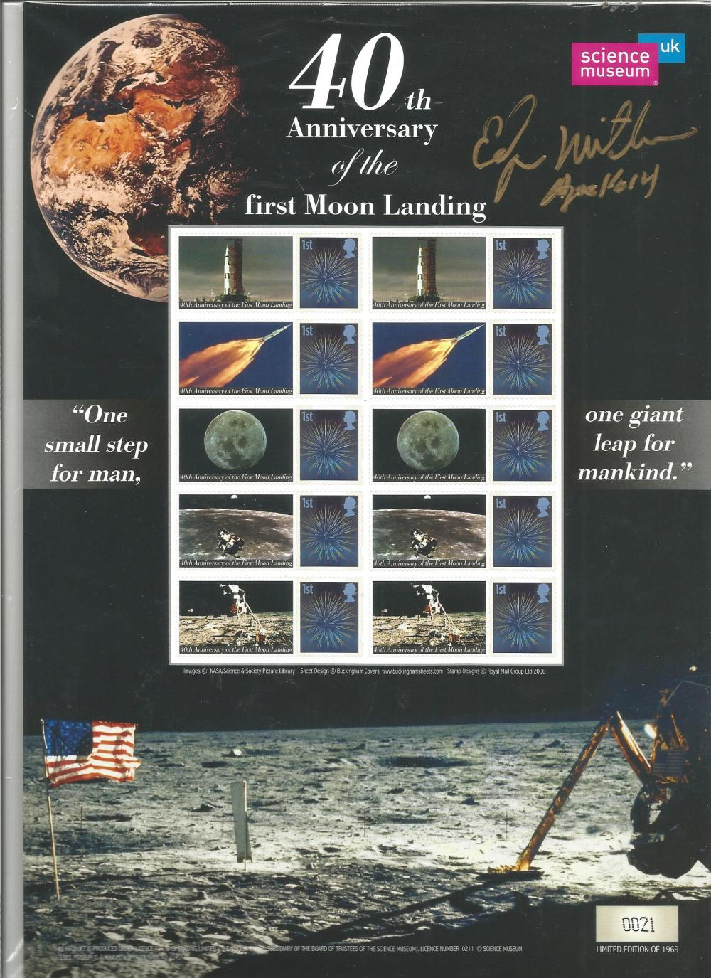 Ed Mitchell signed 40th anniv of the first moon landing stamp sheet. Numbered 21 of 1969. Good
