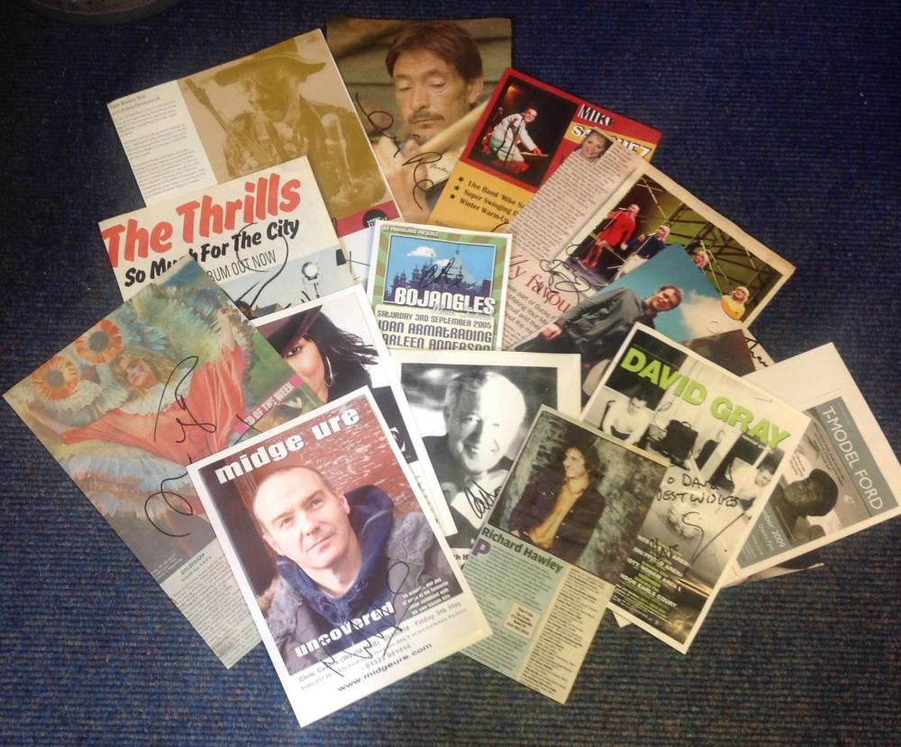 Entertainment and Music signed collection of flyers, cards magazine photos. 15 includes David