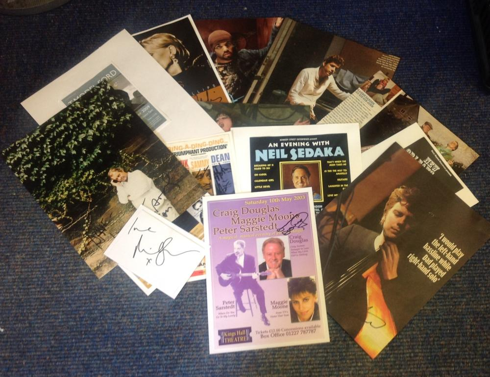 Entertainment and Music signed collection of flyers, cards magazine photos. 14 includes Craig David,