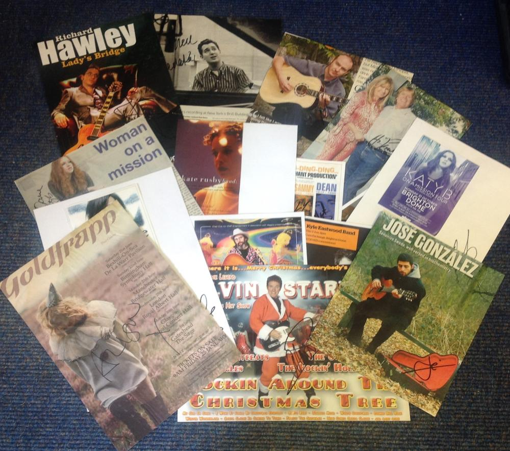 Entertainment and Music signed collection of flyers, cards magazine photos. 15 includes Alvin