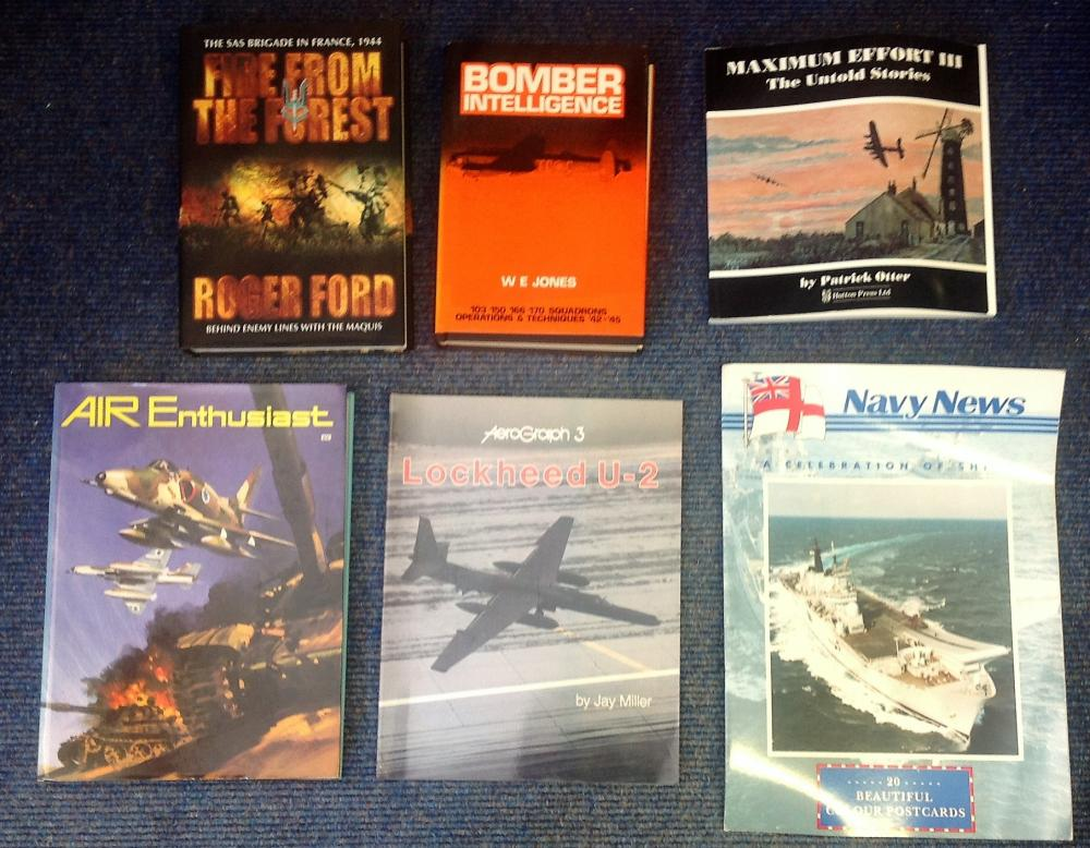 Military book collection including six books Lockheed U-2 BY Jay Miller paperback, Maximum Effort