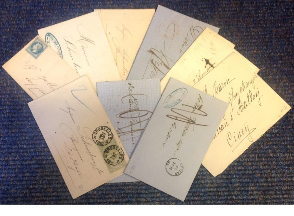 1800s Postal History and Free Frank letters. Worldwide collection 9 items which will yield some