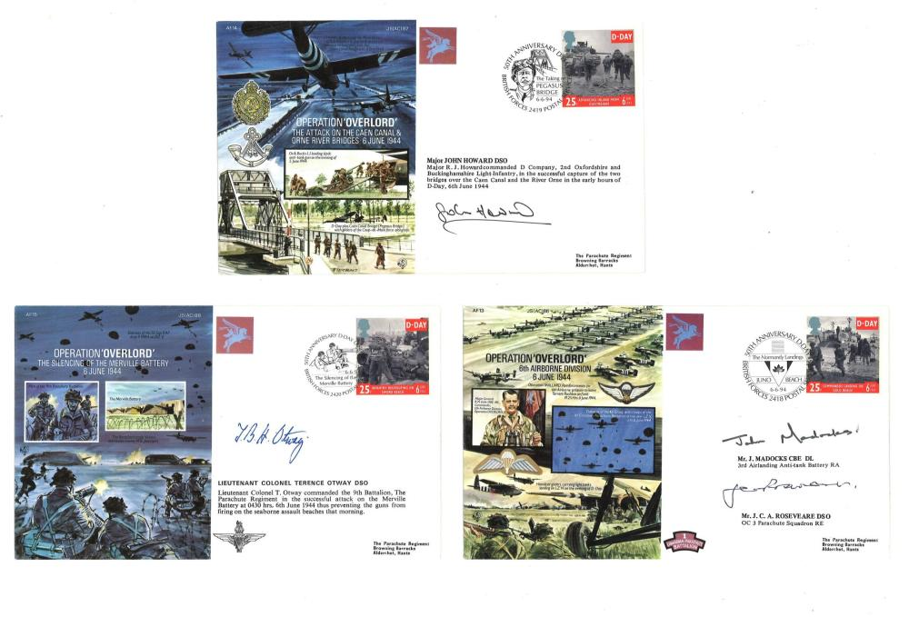 Operation Overlord signed cover collection. 3 covers included. Signed by Mr J Maddocks, Mr J C A