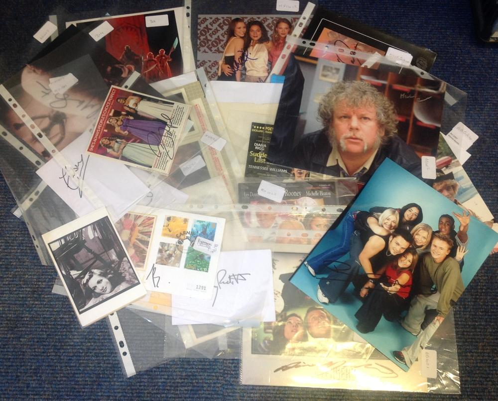 TV Film Music collection of mainly 10 x 8 photos plus cards, theatre flyers, many not identified
