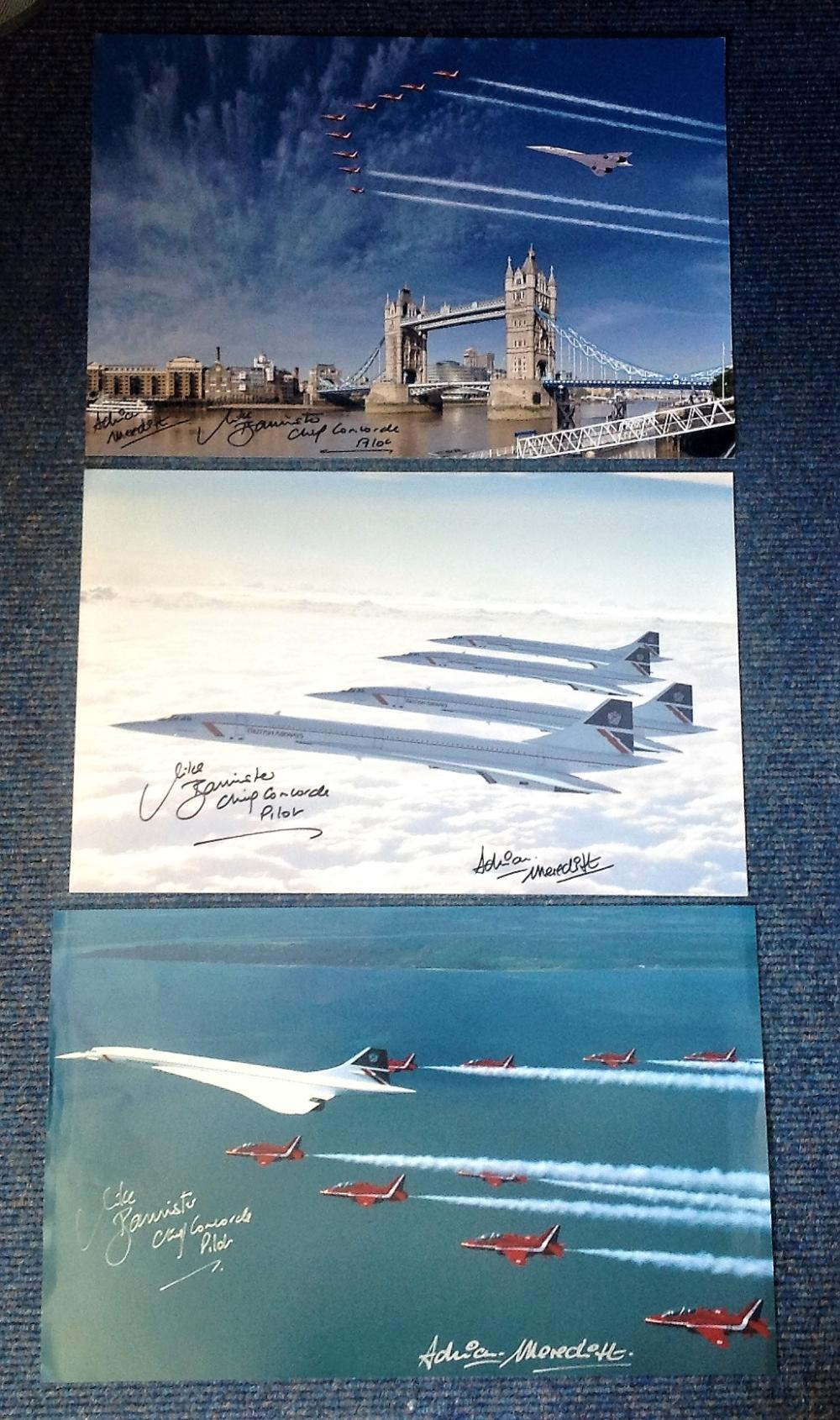 Mike Bannister and Adrian Meredith signed Concorde 16x12 photo collection. Contains 3 photos. Slight
