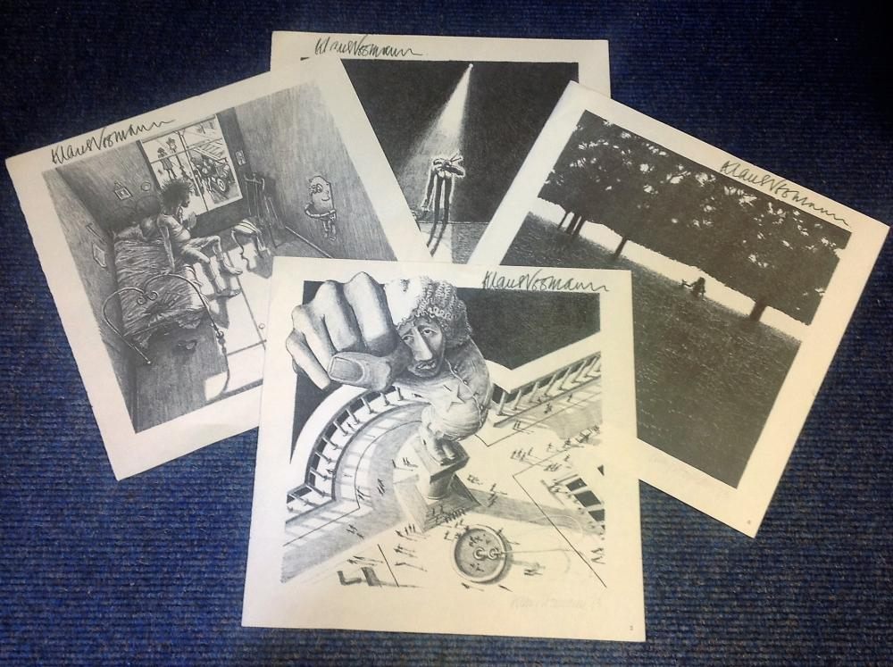 Klaus Voorman signed collection. Includes 4 signed illustrations. Good Condition. All signed