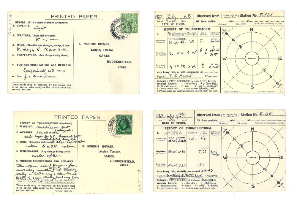 S Morris Bower Thunderstorm Weather Station cards 1933 - 1937 with detailed information on both