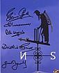 Cricket multi-signed Lords Photo Fred Trueman, Brian Close, Dickie Bird, Ray Illingworth, and Geoff Boycott
