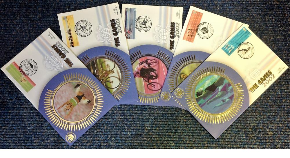 FDC collection of 5 The Games 2002 Benham Covers commemorating The Commonwealth Games in Cardiff