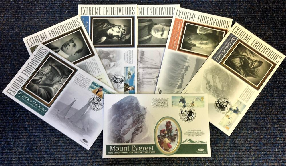 FDC collection of 6 Benham Covers Extreme Endeavours commemorating some of the landmark moments of
