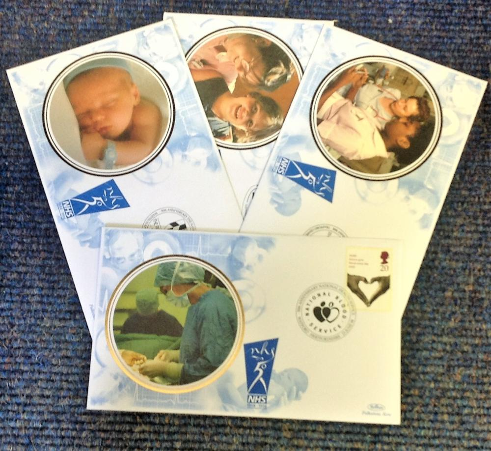 FDC collection of 4 Benham covers commemorating 50th Anniversary of the NHS BS27-30 various PM