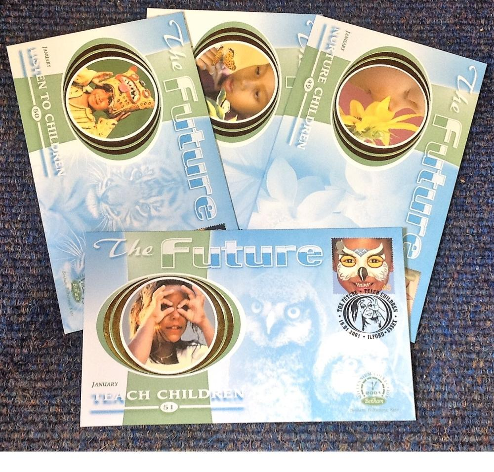 FDC collection of 4 Benham covers The Future BS49-52 various PM 16. 01. 2001. We combine postage