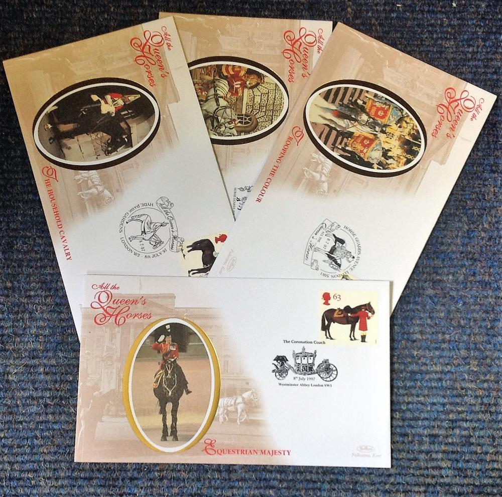 FDC collection of 4 Benham Covers All the Queen Horses BS21-24 various PM 8. 7. 97. We combine