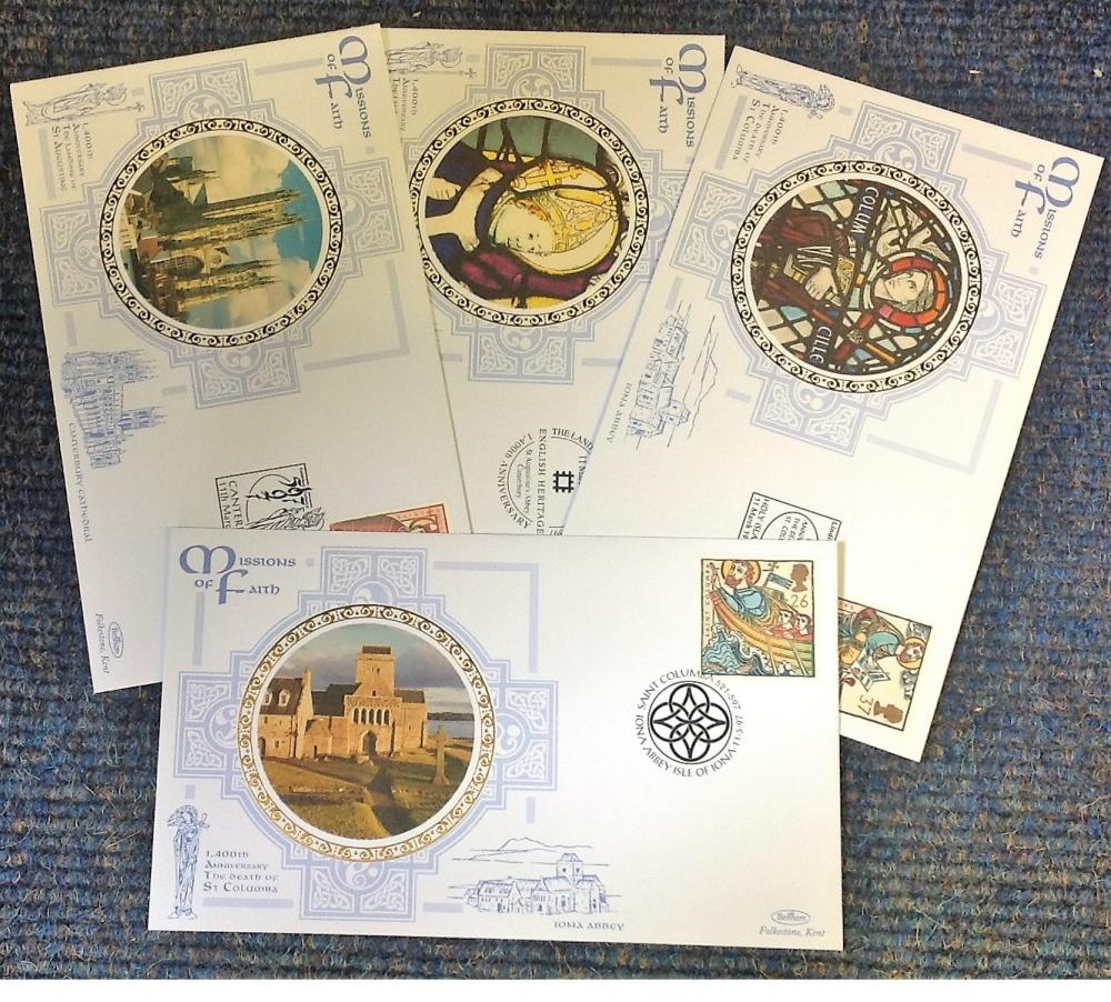 FDC collection of 4 Benham covers Mission of Faith BS8-11 various PM 11th March 1997. We combine