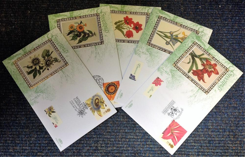FDC collection of 5 Benham covers Floral Greetings BS SP6-10 various PM 6th January 1997. We combine
