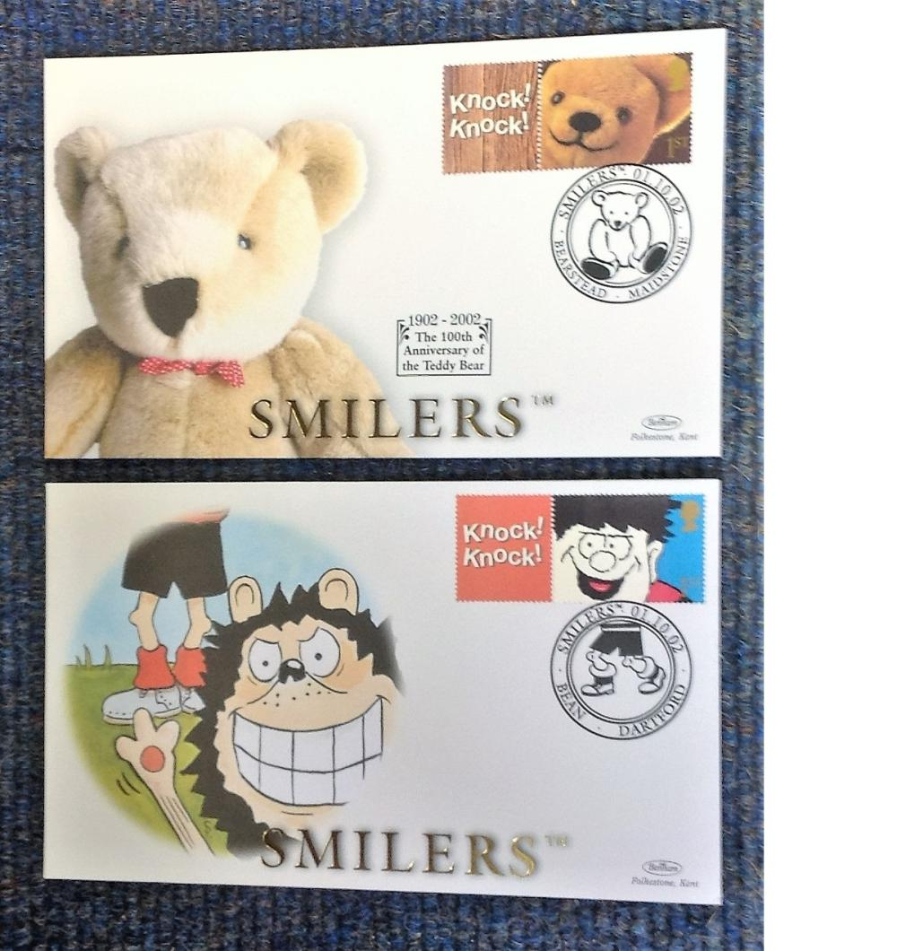 FDC collection of 2, Benham covers Smilers BSSP73-74 Various PM 01. 10. 02. We combine postage on