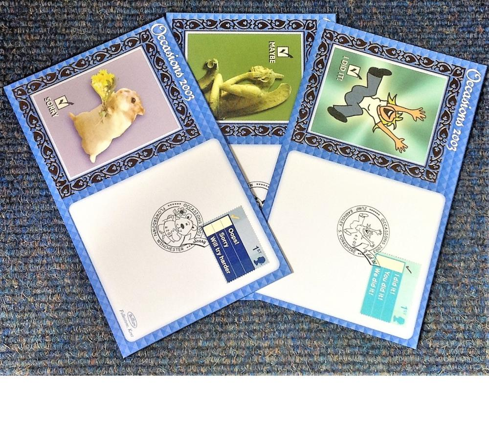 FDC collection of 3 Benham covers Occasions 2003 BS218-223 various PM 4. 02. 03. We combine