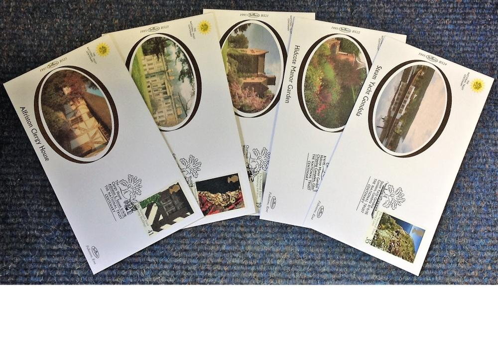 FDC collection of 5 Small Benham silk covers The Trust Centenary Gardens BS21-25 various PM 11. 4.
