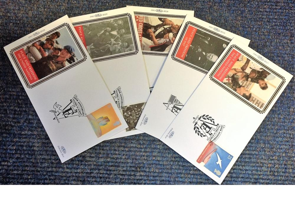 FDC collection of 5 Small Benham Silk covers 50th Anniversary Victory in Europe various PM 2. 3. 95.