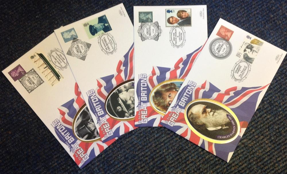 FDC collection of 4 Benham Silk covers High Value Definitives Great Britons full set limited edition