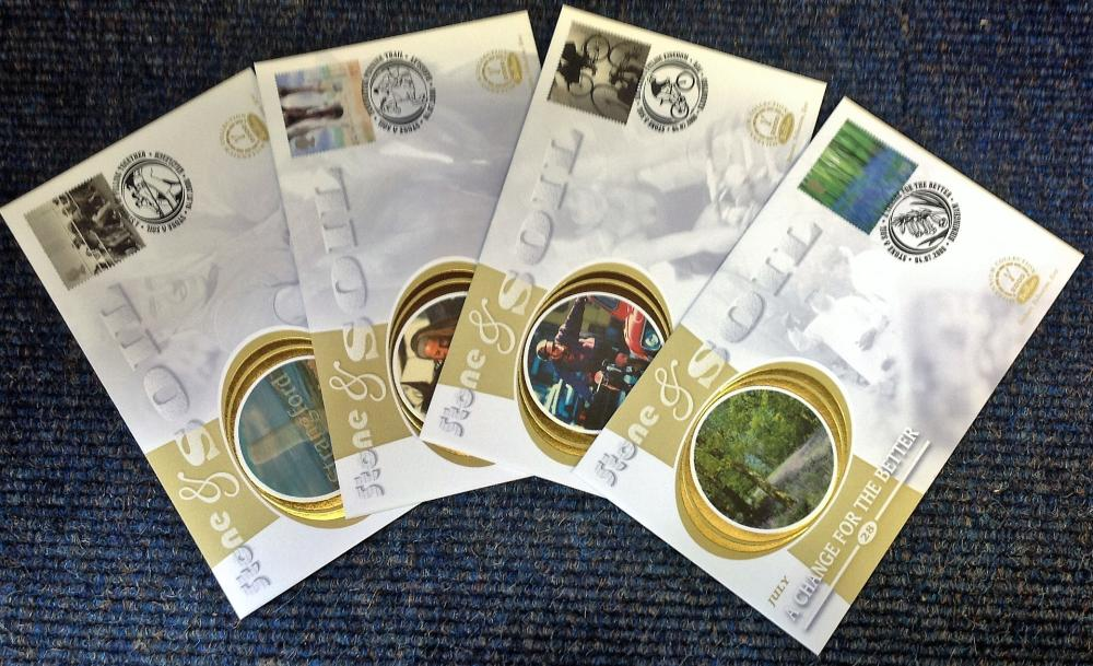 FDC collection of 4 Benham Silk covers Millennium collection of Stone and Soil full set limited