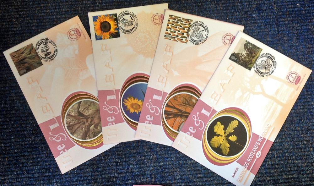 FDC collection of 4 Benham Silk covers Millennium collection of Tree and Leaf full set limited