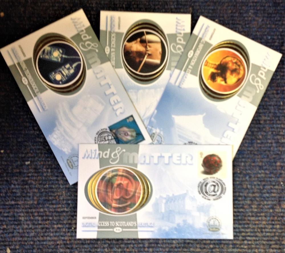 FDC collection of 4 Benham Silk covers Millennium collection of Mind and Matter full set limited