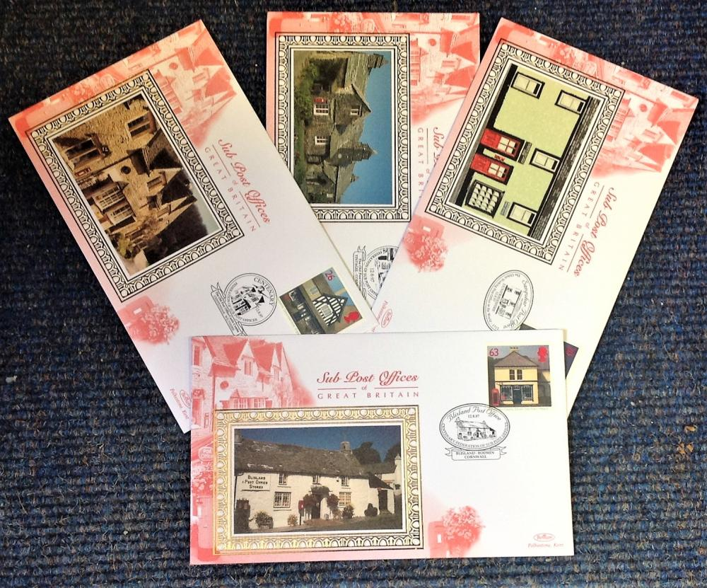 FDC collection of 4 Benham Silk covers Centenary of the Federation of Sub Post Offices full set