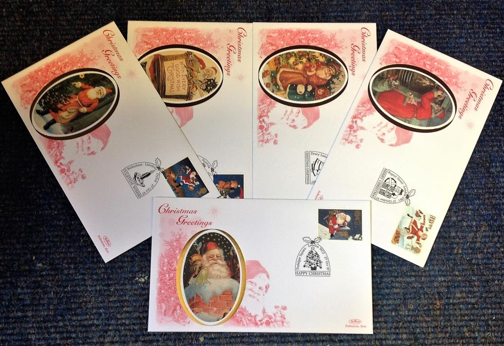 FDC collection of 5 Benham covers Christmas Greetings full set limited edition BS39-43 various PM