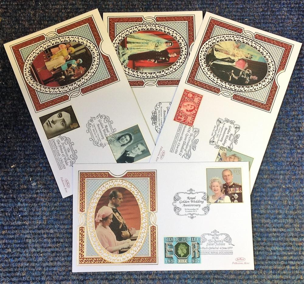 FDC collection of 4 Benham covers Royal Golden Wedding Anniversary commemorative set BS34b-BS37b
