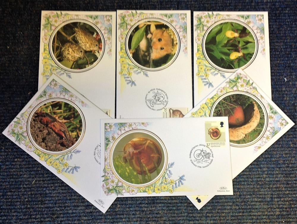 FDC collection of 6 Benham covers Endangered Species full set BS51-56 various PM 20th Jan 1998. We