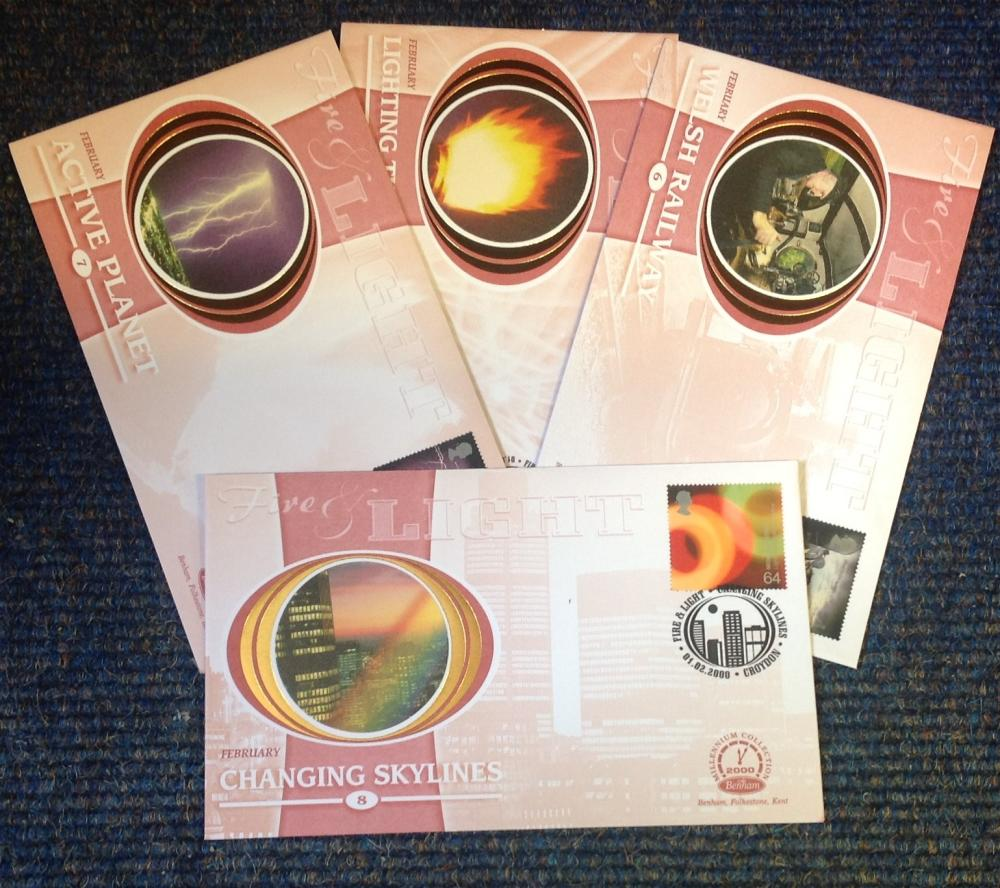 FDC collection of 4 Benham covers Millennium collection of Fire and Light BS55-58 PM 01. 02. 2000.