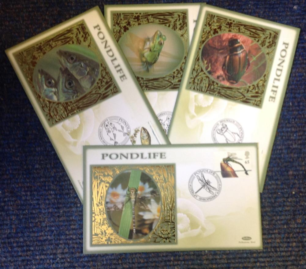 FDC collection of 4 Benham covers Pondlife BS85-88 various PM 10th July 01. We combine postage on
