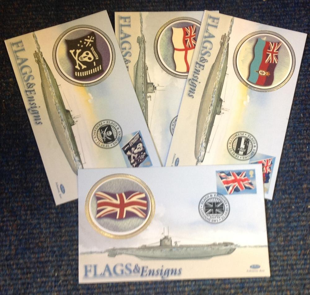 FDC collection of 4 Benham covers Flags and Ensigns Miniature sheet full set BS101-104 various PM