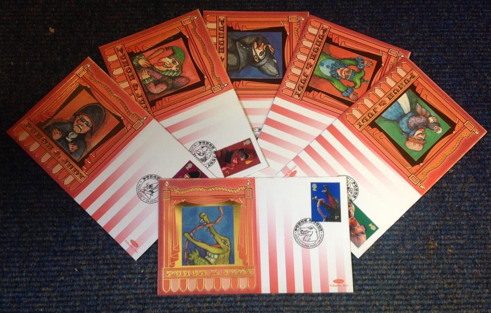 FDC collection of 6 Benham covers Punch and Judy full set BS89-94 various PM 04. 09. 01. We