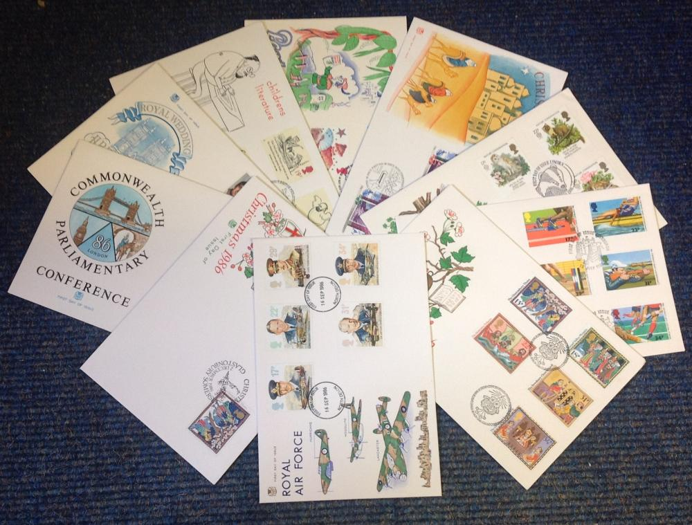FDC collection of 10 Stuart covers dating 1985-1988 includes Pantomime Christmas 1985 Childrens