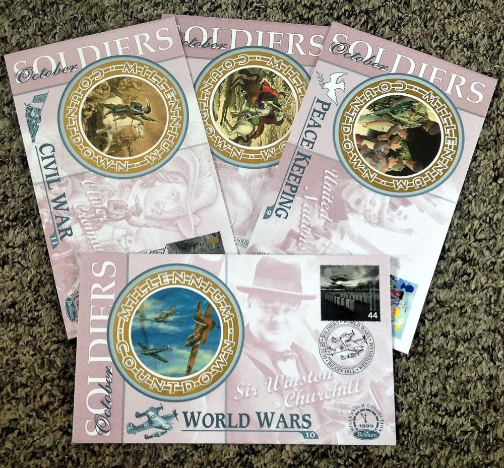 FDC collection of 4 Benham silk covers set of four Soldiers BS37-40 limited to 5000 editions PM