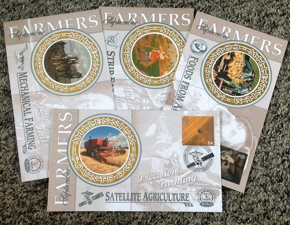 FDC collection of 4 Benham covers Millennium collection of Farmers set of four BS33-36 PM 07. 09.