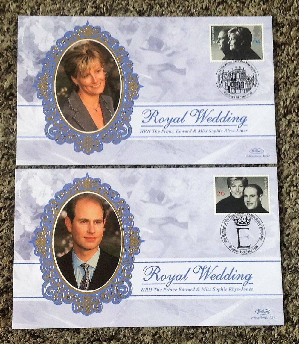 FDC collection of 2, Benham covers Royal Wedding Edward and Sophie BS SP20 -21 PM 15TH June 1999. We