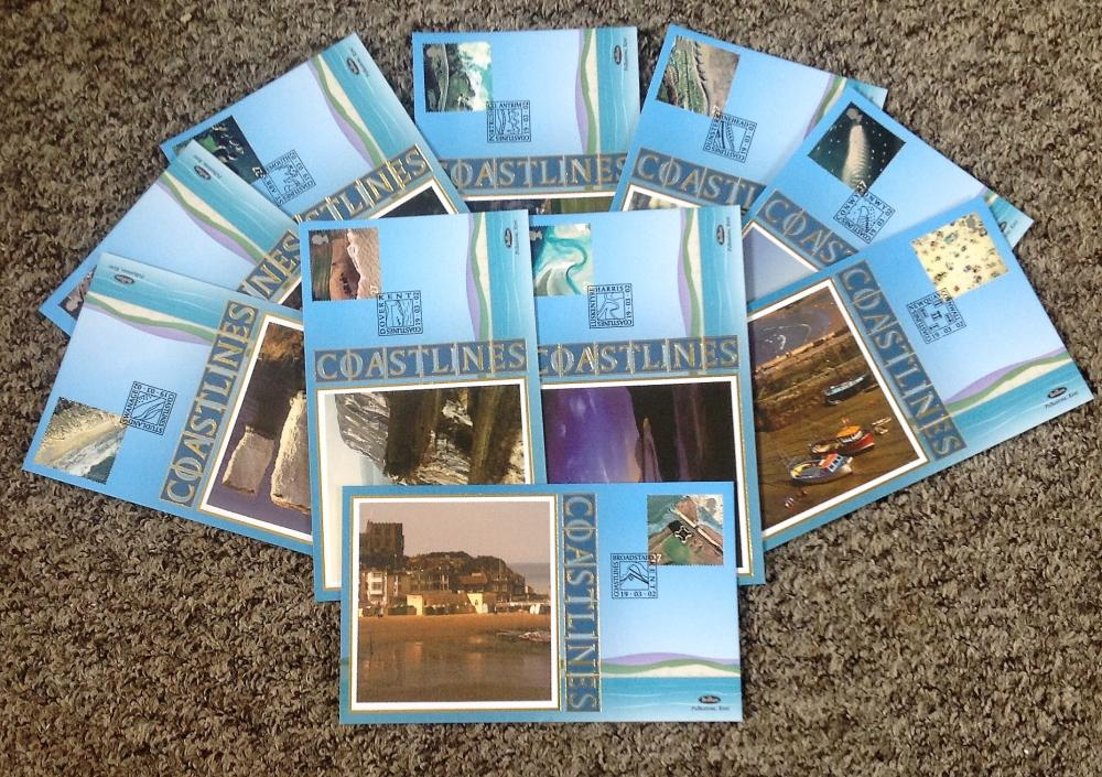 FDC collection of 10 Benham Covers Coastlines BS140-149 PM 19. 03. 02. We combine postage on