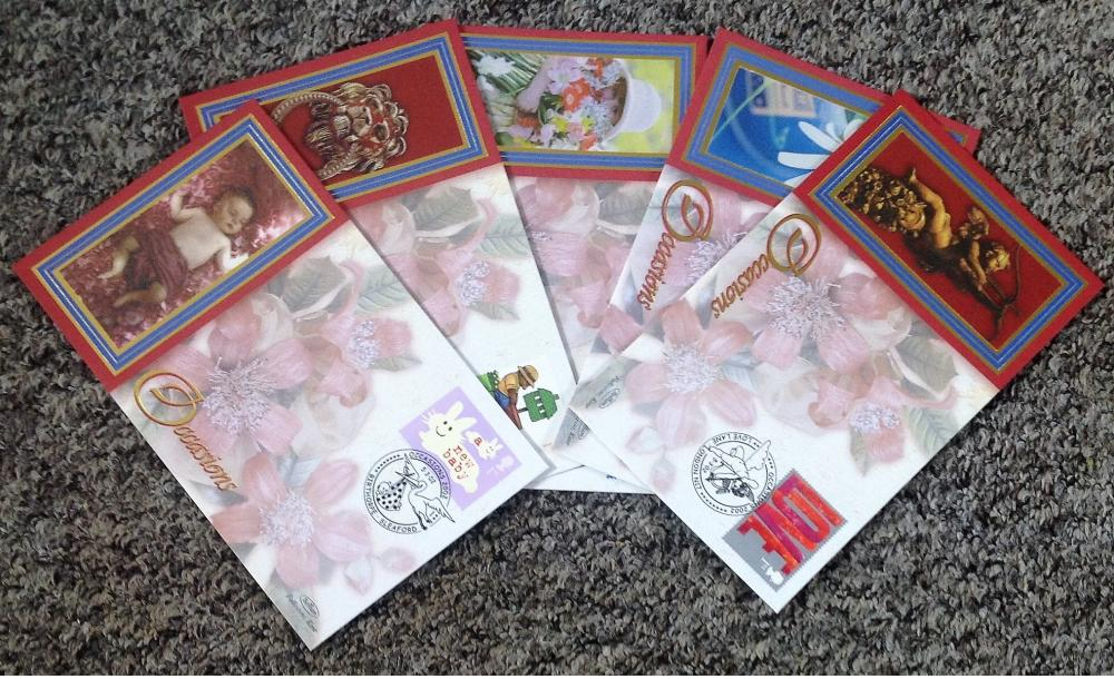 FDC collection of 5 Benham Covers Occasions set of five BS 135-139 PM 5. 03. 02. We combine