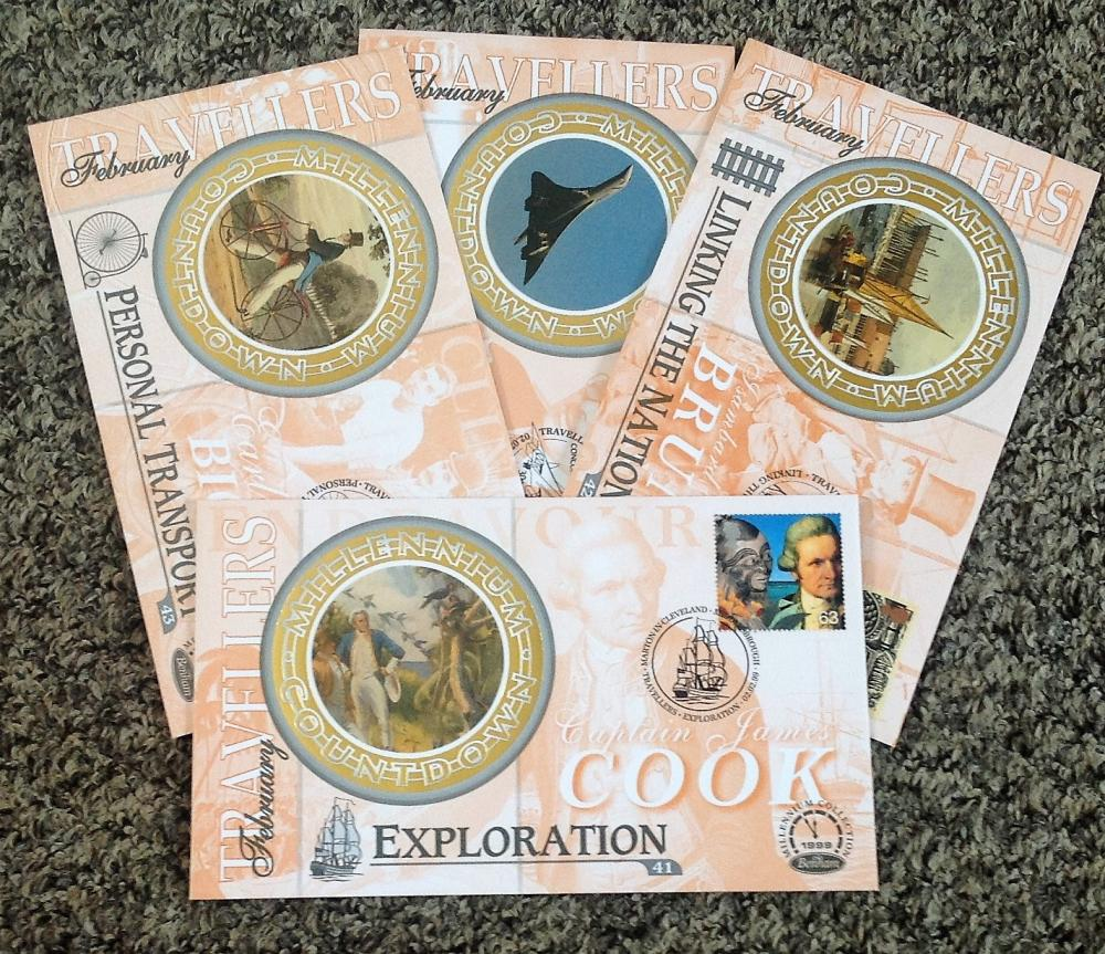 FDC collection of 4 Benham covers Millennium collection of set of four B55-58 PM 02. 02. 99. We