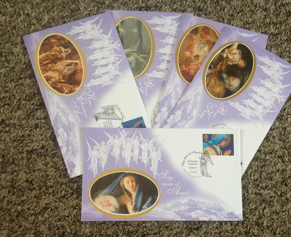FDC collection of 5 Benham silk covers Christmas set of five BS45-49 PM 2. 11. 98. We combine